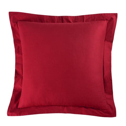 Solid Red Cotton Euro Sham