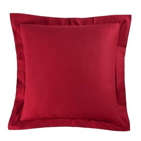 Solid Red Cotton Euro Sham