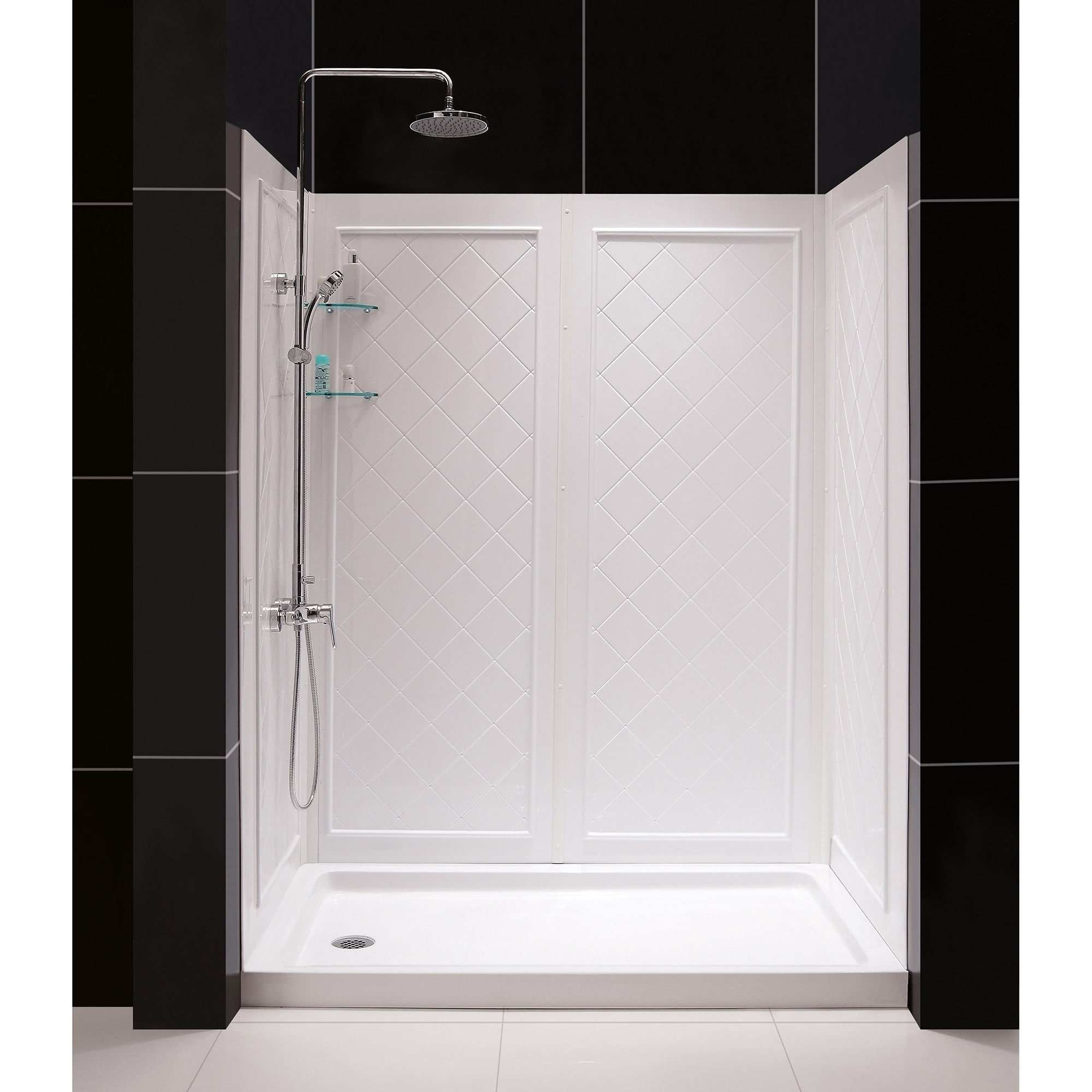 Dreamline Flex 34 In D X 60 In W X 76 3 4 In H Semi Frameless Pivot Shower Door Slimline Shower Base And Backwall Kit
