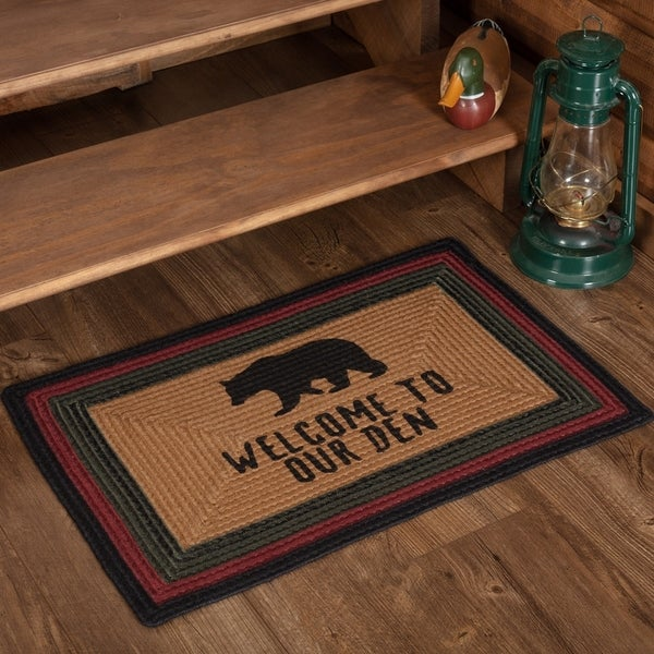 "Wyatt Stenciled Bear Jute Rug Rect Welcome to Our Den 20x30 - 1'8"" x 2'6"""