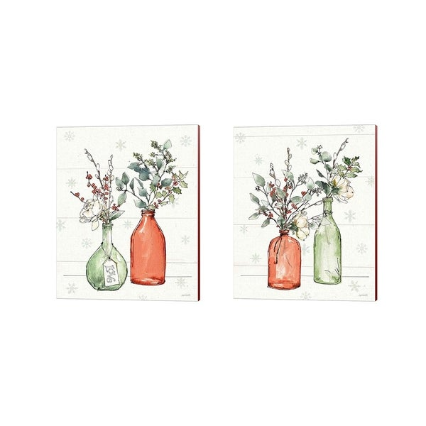 Anne Tavoletti 'Modern Farmhouse Christmas C' Canvas Art (Set of 2)