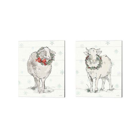 Anne Tavoletti 'Modern Farmhouse Christmas A' Canvas Art (Set of 2) - 12 x 15