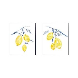 Jennifer Goldberger 'Watercolor Lemons' Canvas Art (Set of 2)