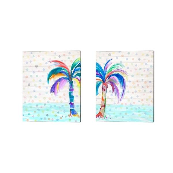 Julie DeRice 'Funky Palm on Dots' Canvas Art (Set of 2)