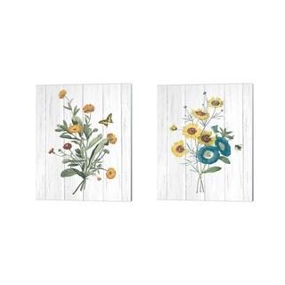 Wild Apple Portfolio 'Botanical Bouquet on Wood' Canvas Art (Set of 2)