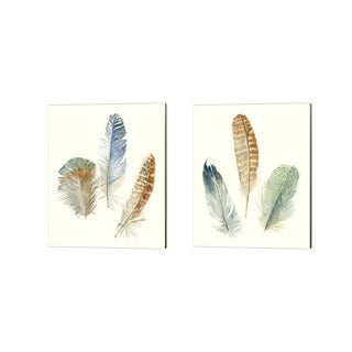 Megan Meagher 'Watercolor Feathers' Canvas Art (Set of 2)