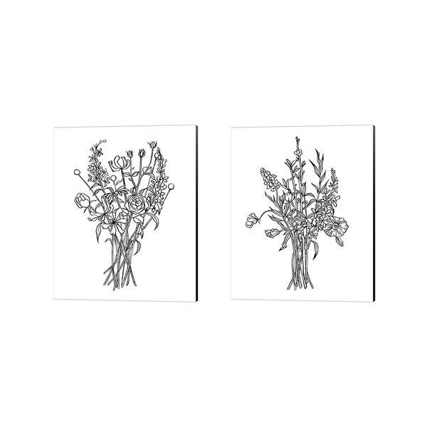Emma Scarvey 'Black & White Bouquet' Canvas Art (Set of 2)