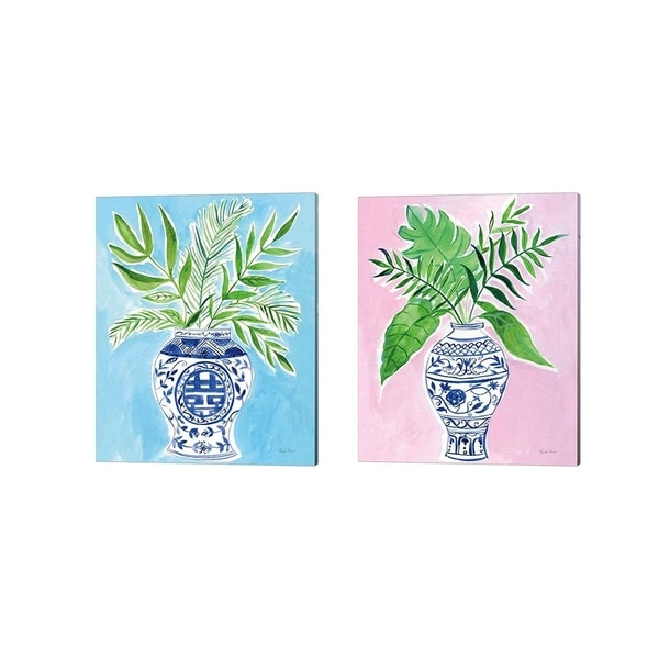 Farida Zaman 'Elegant Chinoiserie Crop' Canvas Art (Set of 2)