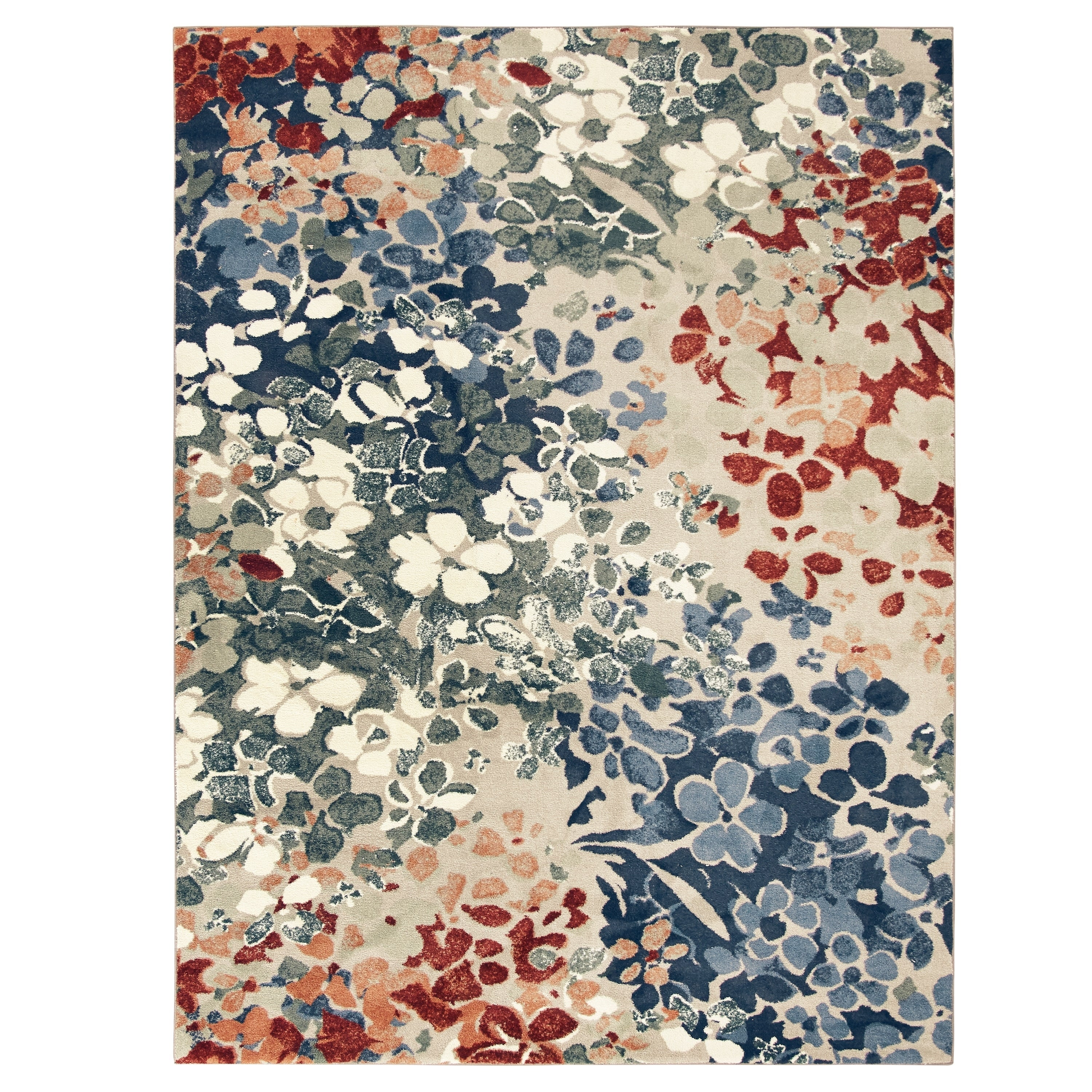 18x210 Mohawk Home Aqua Blue Aurora Radiance Abstract Floral Area Rug