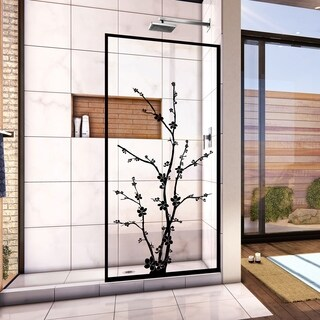 "DreamLine Linea Blossom 34 in. W x 72 in. H Single Panel Frameless Shower Door, Open Entry Design - 34"" W"