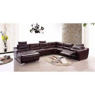 Luca Home Left Brown Manual Reclining Sectional