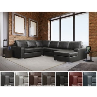 Link to Mitchell Modern Premium Top Grain Italian Leather Sectional Sofa Similar Items in Living Room Furniture