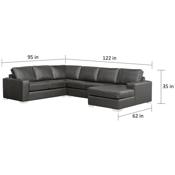 Mitchell Modern Premium Top Grain Italian Leather Sectional Sofa