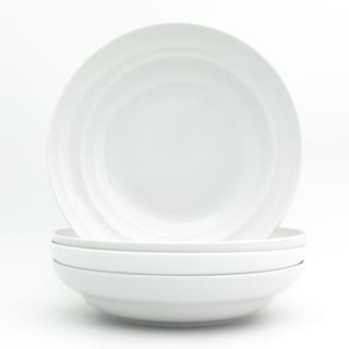 "Euro Ceramica White Essential 4 Piece 9"" Pasta Bowl Set"