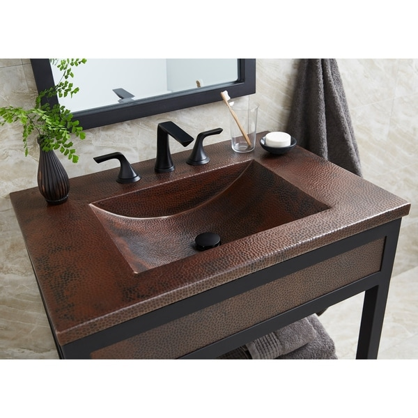 Cozumel Vanity Top with Integral Bathroom Sink in Antique Copper (Top Only). Opens flyout.