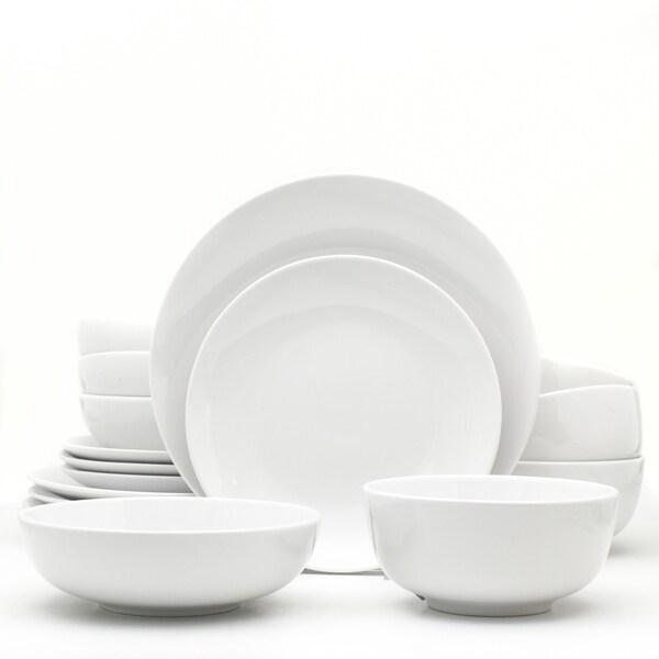 Euro Ceramica White Essential 16 Piece Porcelain Dinnerware Set. Opens flyout.