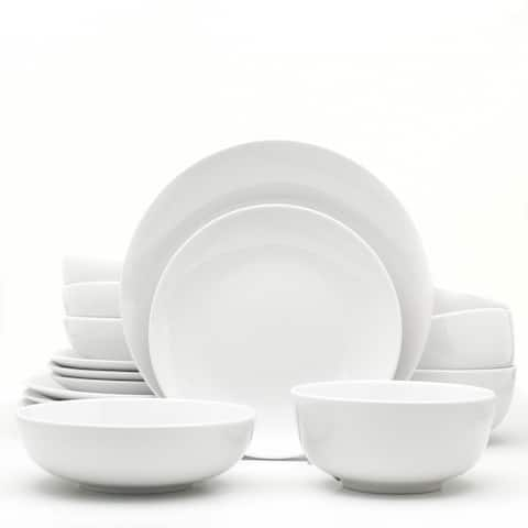 Euro Ceramica White Essential 16 Piece Dinnerware Set