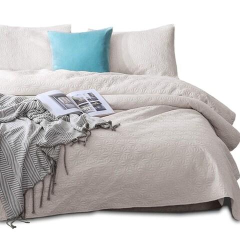Kasentex Coverlet Quilt Set Pre Washed Brushed Microfiber - Star