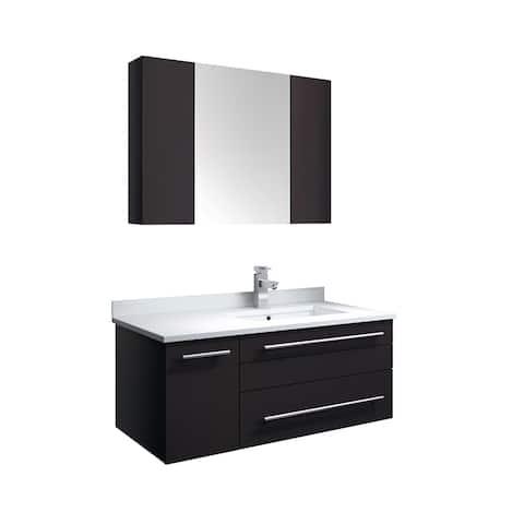 "Fresca Lucera 36"" Espresso Wall Hung Undermount Sink Modern Bathroom Vanity w/ Medicine Cabinet - Left Version"