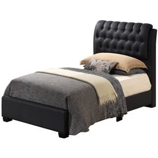 LYKE Home Levi Black Tufted Twin Bed