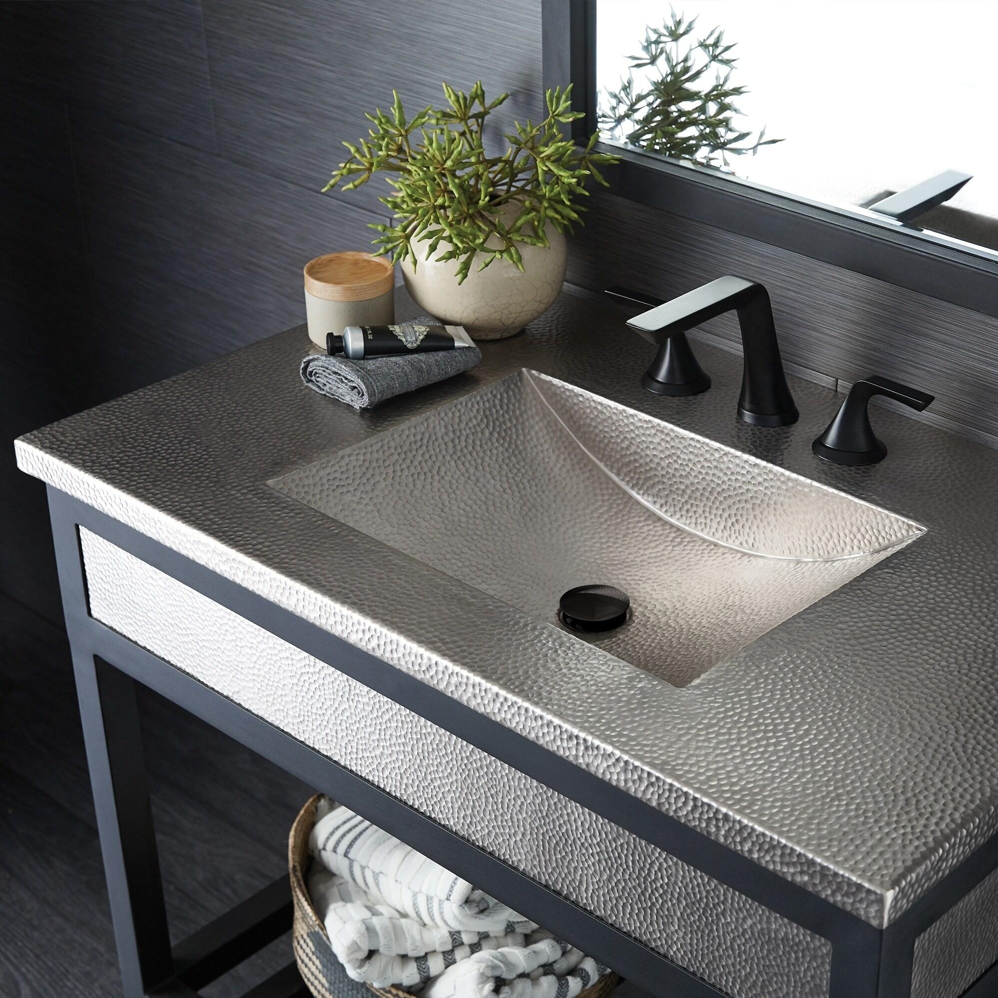 Cozumel Vanity Top With Integral Bathroom Sink In Brushed Nickel Top Only Overstock 27617916 30 5 X 21 75 X 4 5 30 Inch