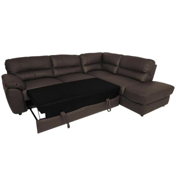 Shop BALTIMOR Leather Sectional Sleeper Sofa - Free Shipping ...