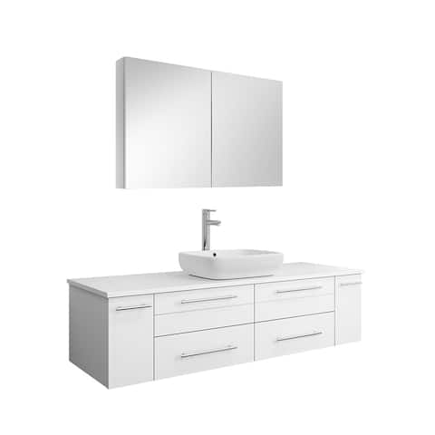 "Fresca Lucera 60"" White Wall Hung Single Vessel Sink Modern Bathroom Vanity w/ Medicine Cabinet"