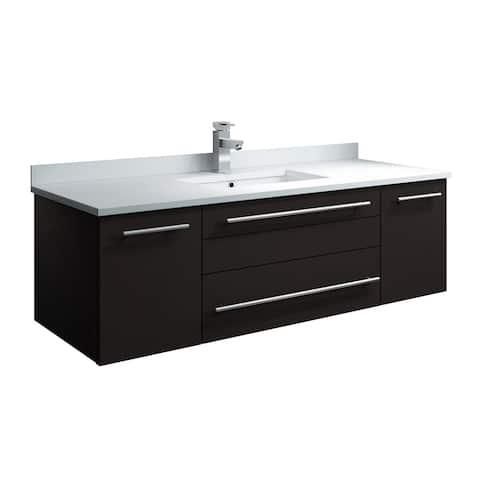 """Fresca Lucera 48"""" Espresso Wall Hung Modern Bathroom Cabinet w/ Top & Undermount Sink"""