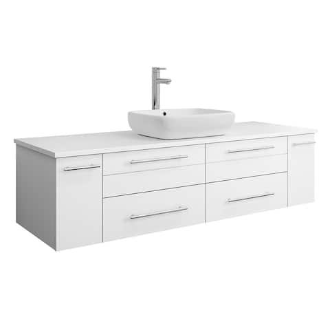 "Fresca Lucera 60"" White Wall Hung Modern Bathroom Cabinet w/ Top & Single Vessel Sink"