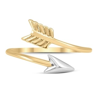 14K Yellow Gold Arrow Ring With White Rhodium Plating