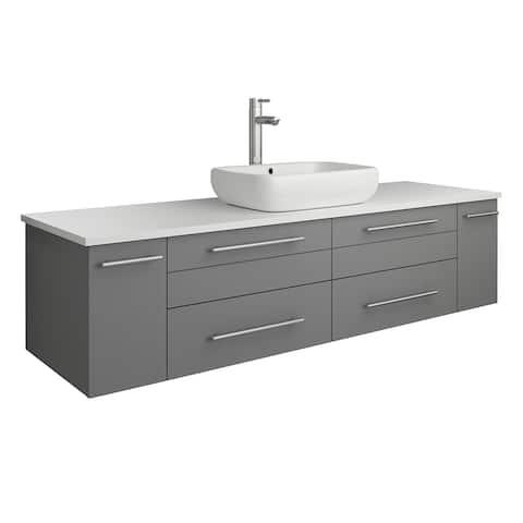 "Fresca Lucera 60"" Gray Wall Hung Modern Bathroom Cabinet w/ Top & Single Vessel Sink"