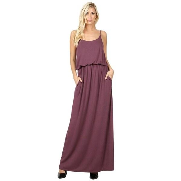 JED Women's Adjustable Straps Elastic Waist Layered Style Maxi Dress