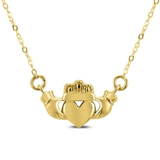 14K Yellow Gold Claddagh Necklace