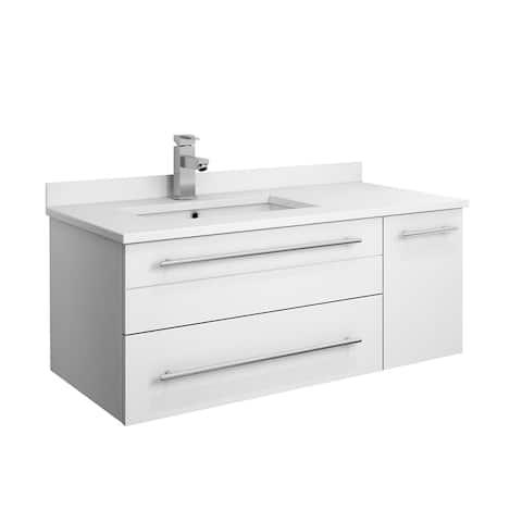 "Fresca Lucera 36"" White Wall Hung Modern Bathroom Cabinet w/ Top & Undermount Sink - Right Version"