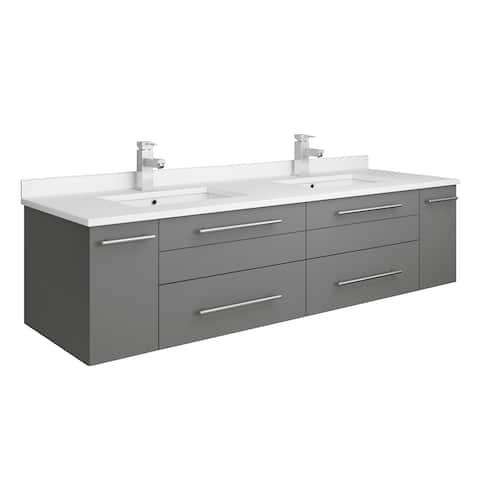 "Fresca Lucera 60"" Gray Wall Hung Modern Bathroom Cabinet w/ Top & Double Undermount Sinks"