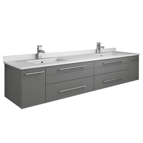 "Fresca Lucera 72"" Gray Wall Hung Modern Bathroom Cabinet w/ Top & Double Undermount Sinks"