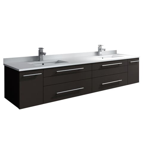 "Fresca Lucera 72"" Espresso Wall Hung Modern Bathroom Cabinet w/ Top & Double Undermount Sinks"