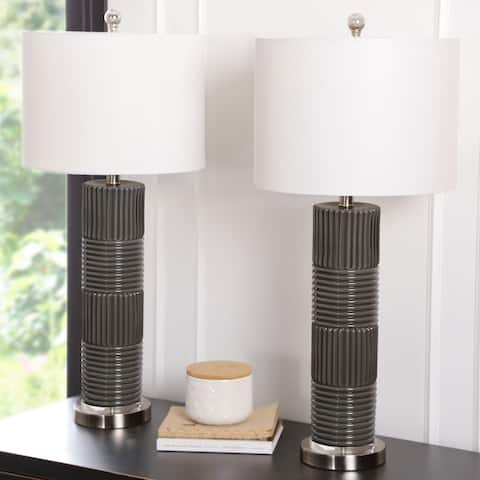Abbyson Cleo 31-inch Glass Table Lamp (Set of 2)
