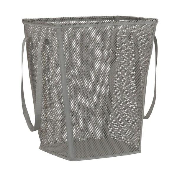 Eva Mesh Tapered Rectangle Laundry Hamper, Gray. 22.5H X 18.25W X 13.25D