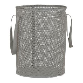 Eva Mesh Round Laundry Hamper, Gray, 20H X 15.25 DIAMETER