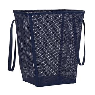Eva Mesh Tapered Rectangle Laundry Hamper, Navy.  22.5H X 18.25W X 13.25D