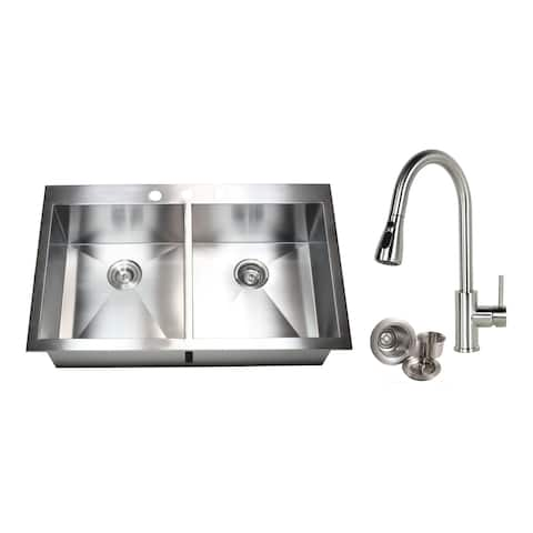 33-inch 16 Gauge Stainless Steel Brushed Nickel Double Bowl 50/50 Topmount Drop-in Zero Radius Kitchen Sink With Pull-Out Faucet