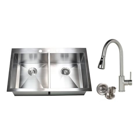 36-inch 16 Gauge Stainless Steel Brushed Nickel Double Bowl 50/50 Topmount Drop-in Zero Radius Kitchen Sink With Pull-Out Faucet