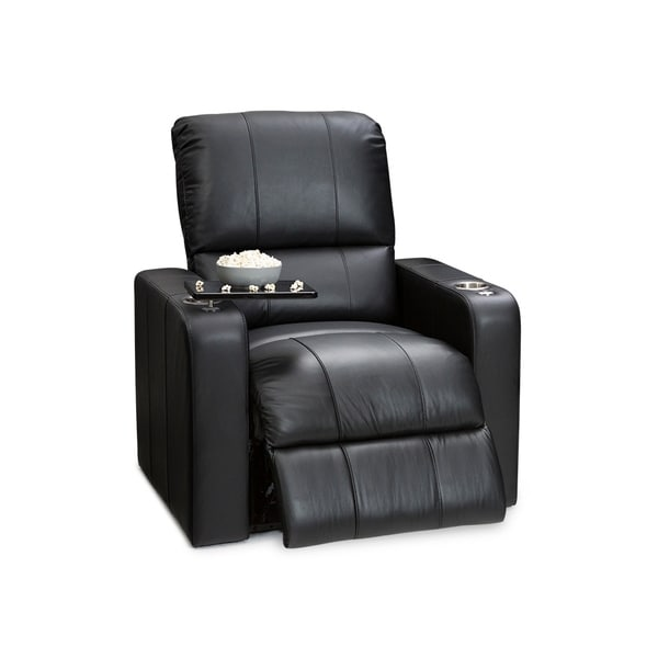 Seatcraft Millenia Leather Home Theater Seating Wall Hugger Power Recliner Chair with USB Charging and Cup Holders