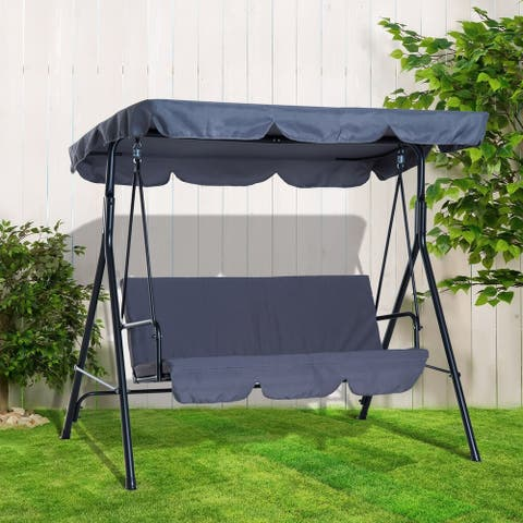 Outsunny Steel Outdoor Porch Swing Lounge Chair 3 Person with Adjustable Weather-Resistant Canopy & Durable Build, Grey