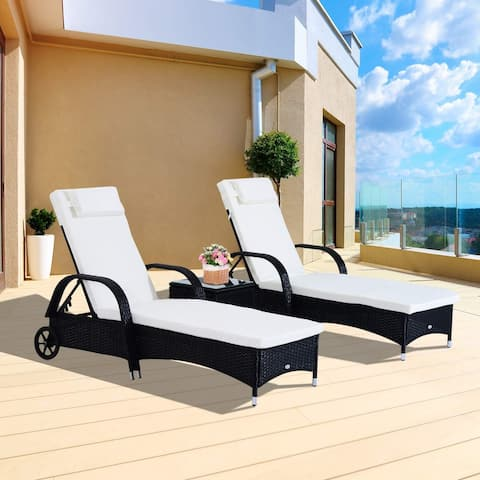 Outsunny 3 Piece Rattan Wicker Adjustable Chaise Lounge Chair with Wheels Set