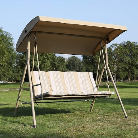 Outsunny Free Standing 3 Person Powder Coated Steel Frame Outdoor Gliding Canopy Porch Swing