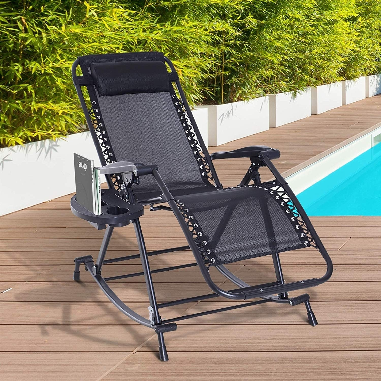 Havenside Home Pindel Black Folding Zero Gravity Lounge Chair With Cup Holder