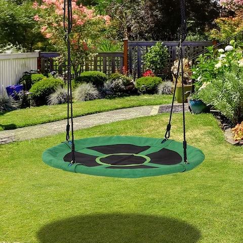 "HOMCOM 40"" Round Tree Monkey Swing Attaches to Trees, Green - 5""x 30""x 15"""