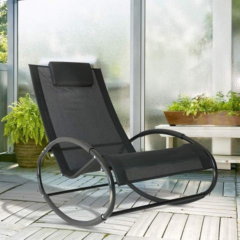 Outsunny Lightweight Steel Frame Sling Seat Outdoor Poolside Zero Gravity Rocking Lounge Chair